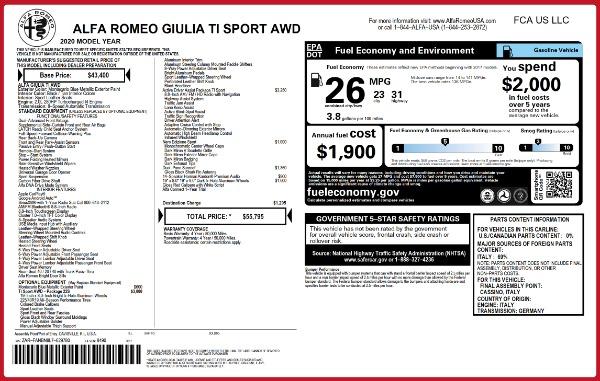 New 2020 Alfa Romeo Giulia Ti Sport Q4 for sale $55,795 at Bentley Greenwich in Greenwich CT 06830 2