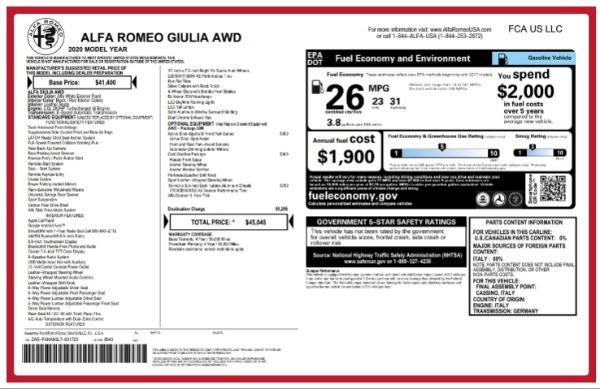New 2020 Alfa Romeo Giulia Q4 for sale $45,045 at Bentley Greenwich in Greenwich CT 06830 2