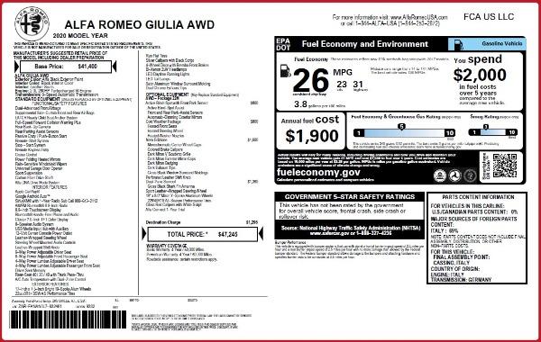 New 2020 Alfa Romeo Giulia Q4 for sale Sold at Bentley Greenwich in Greenwich CT 06830 2