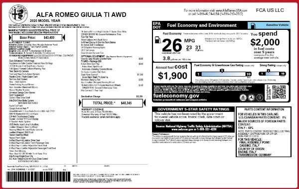 New 2020 Alfa Romeo Giulia Ti Q4 for sale $48,345 at Bentley Greenwich in Greenwich CT 06830 2