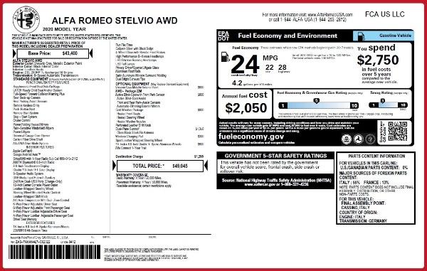 New 2020 Alfa Romeo Stelvio Q4 for sale $49,045 at Bentley Greenwich in Greenwich CT 06830 2