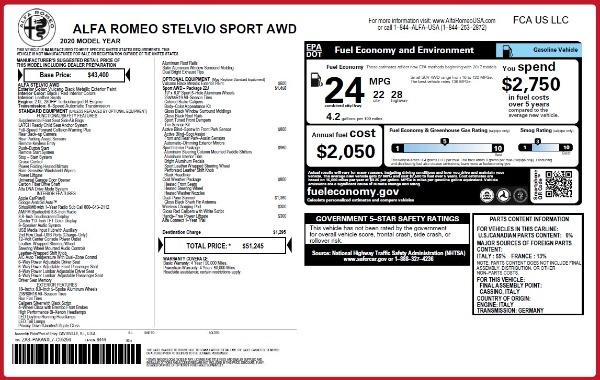 New 2020 Alfa Romeo Stelvio Sport Q4 for sale $51,245 at Bentley Greenwich in Greenwich CT 06830 2