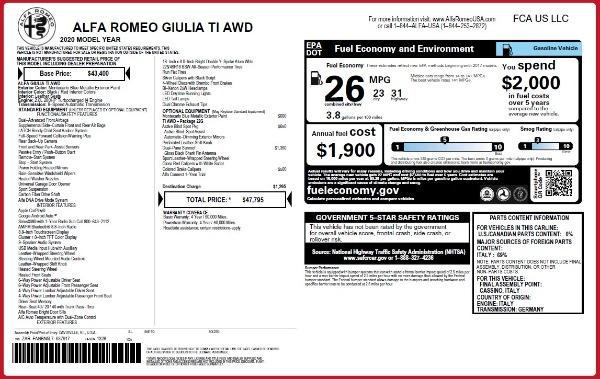 New 2020 Alfa Romeo Giulia Ti Q4 for sale $47,795 at Bentley Greenwich in Greenwich CT 06830 28