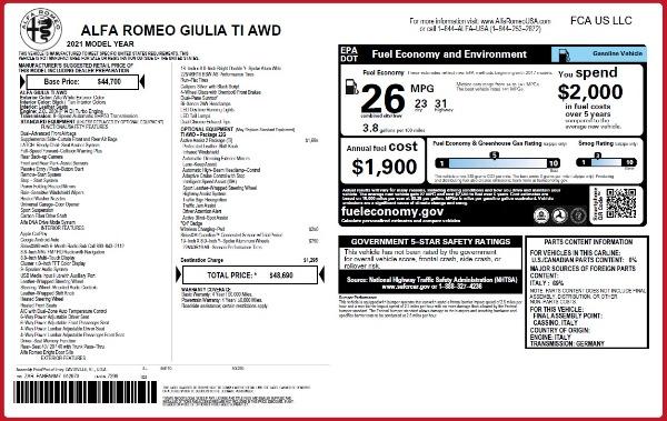 New 2021 Alfa Romeo Giulia Ti Q4 for sale $48,690 at Bentley Greenwich in Greenwich CT 06830 2
