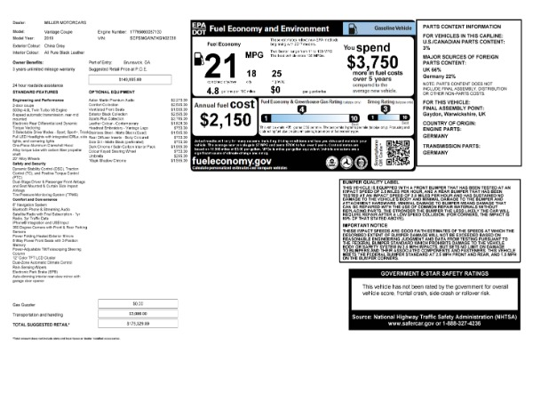 Used 2019 Aston Martin Vantage Coupe for sale $129,900 at Bentley Greenwich in Greenwich CT 06830 23