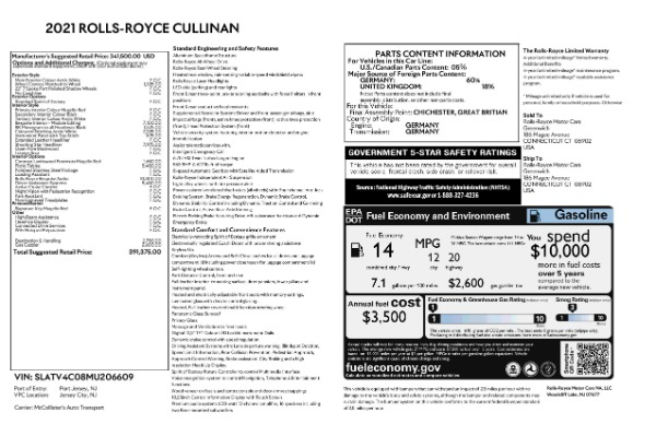 New 2021 Rolls-Royce Cullinan for sale $391,375 at Bentley Greenwich in Greenwich CT 06830 8