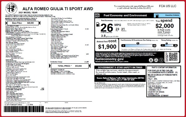 New 2021 Alfa Romeo Giulia Ti Sport Q4 for sale $53,850 at Bentley Greenwich in Greenwich CT 06830 25