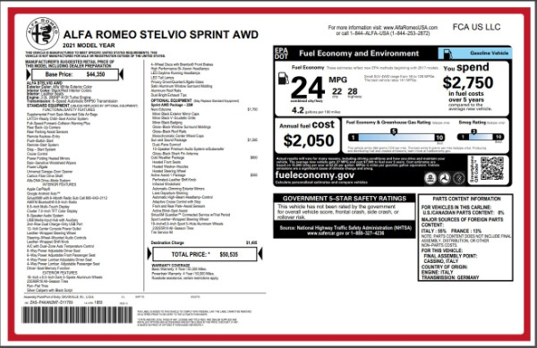 New 2021 Alfa Romeo Stelvio Q4 for sale Sold at Bentley Greenwich in Greenwich CT 06830 28