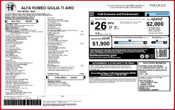 New 2021 Alfa Romeo Giulia Ti Q4 for sale $50,850 at Bentley Greenwich in Greenwich CT 06830 2