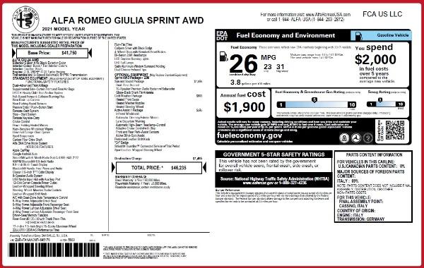 New 2021 Alfa Romeo Giulia Q4 for sale $46,235 at Bentley Greenwich in Greenwich CT 06830 2