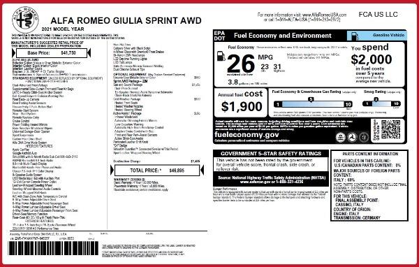 New 2021 Alfa Romeo Giulia Q4 for sale $41,662 at Bentley Greenwich in Greenwich CT 06830 26