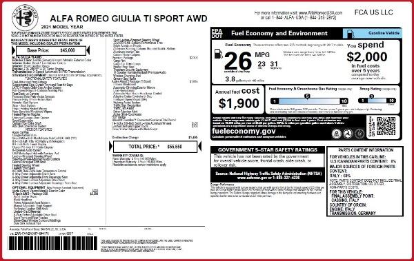 New 2021 Alfa Romeo Giulia Ti Sport Q4 for sale Sold at Bentley Greenwich in Greenwich CT 06830 2