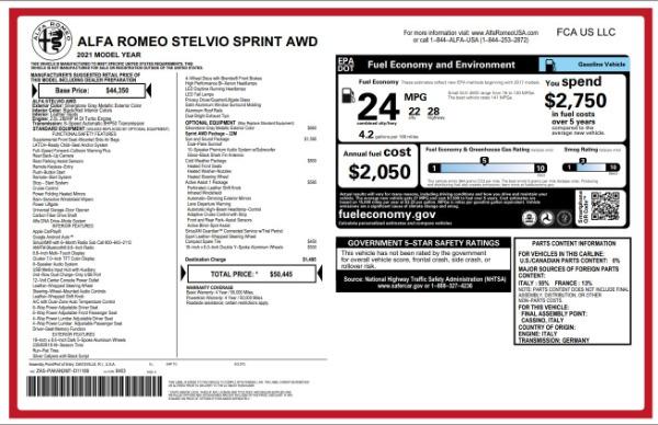 New 2021 Alfa Romeo Stelvio Q4 for sale $49,845 at Bentley Greenwich in Greenwich CT 06830 2