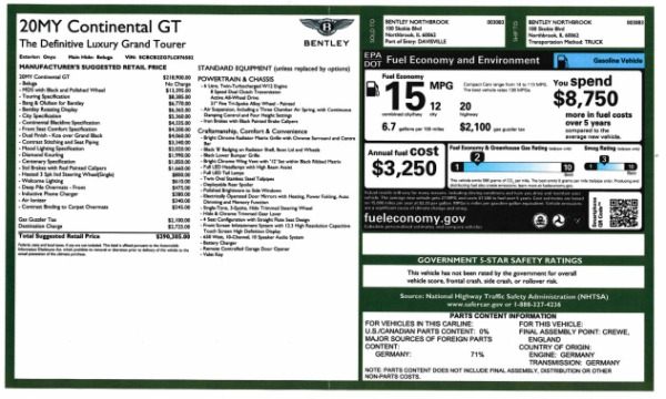 New 2020 Bentley Continental GT W12 for sale $290,305 at Bentley Greenwich in Greenwich CT 06830 28