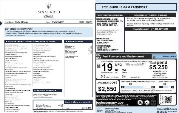 New 2021 Maserati Ghibli S Q4 GranSport for sale $100,285 at Bentley Greenwich in Greenwich CT 06830 28