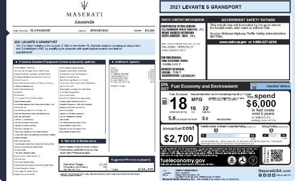 New 2021 Maserati Levante S Q4 GranSport for sale $104,835 at Bentley Greenwich in Greenwich CT 06830 2
