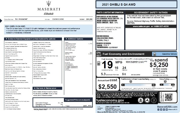 New 2021 Maserati Ghibli S Q4 for sale $86,954 at Bentley Greenwich in Greenwich CT 06830 2