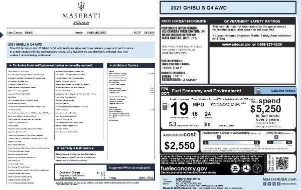 New 2021 Maserati Ghibli S Q4 for sale $86,654 at Bentley Greenwich in Greenwich CT 06830 25