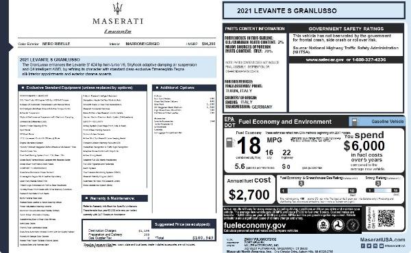 New 2021 Maserati Levante S Q4 GranLusso for sale $100,949 at Bentley Greenwich in Greenwich CT 06830 26