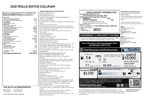 New 2021 Rolls-Royce Cullinan for sale Call for price at Bentley Greenwich in Greenwich CT 06830 8
