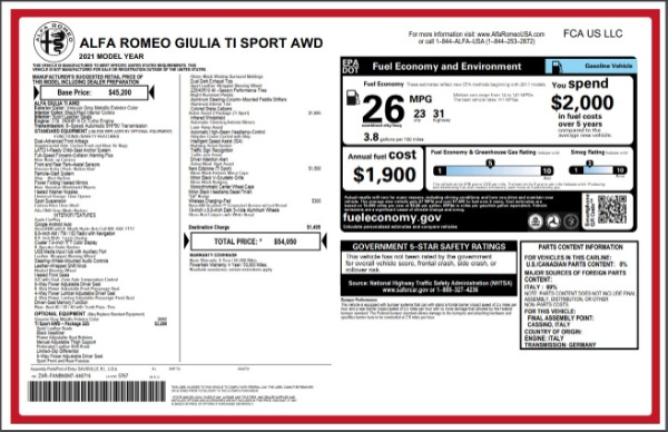 New 2021 Alfa Romeo Giulia Ti Sport for sale $54,050 at Bentley Greenwich in Greenwich CT 06830 27
