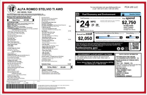 New 2021 Alfa Romeo Stelvio Ti for sale $53,650 at Bentley Greenwich in Greenwich CT 06830 27