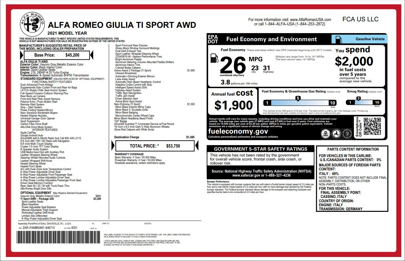New 2021 Alfa Romeo Giulia Ti Sport for sale $53,750 at Bentley Greenwich in Greenwich CT 06830 1