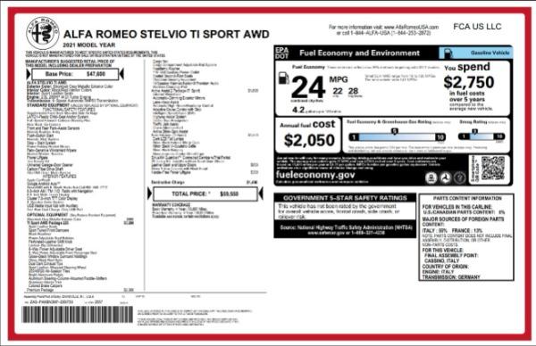 New 2021 Alfa Romeo Stelvio Ti Sport for sale $59,550 at Bentley Greenwich in Greenwich CT 06830 2