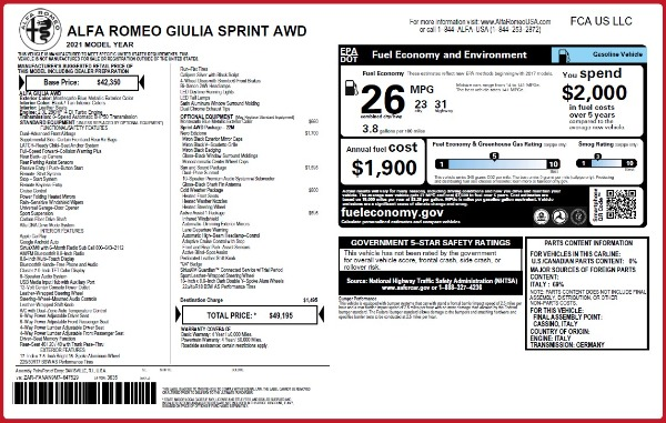 New 2021 Alfa Romeo Giulia Q4 for sale $49,195 at Bentley Greenwich in Greenwich CT 06830 2