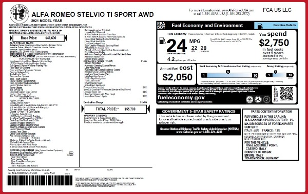 New 2021 Alfa Romeo Stelvio Ti Sport Q4 for sale $55,700 at Bentley Greenwich in Greenwich CT 06830 27