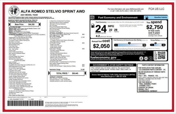 New 2021 Alfa Romeo Stelvio Q4 for sale $50,445 at Bentley Greenwich in Greenwich CT 06830 22