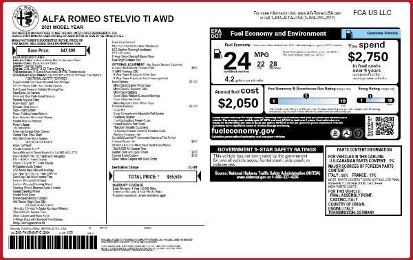 New 2021 Alfa Romeo Stelvio Ti Q4 for sale $55,505 at Bentley Greenwich in Greenwich CT 06830 2