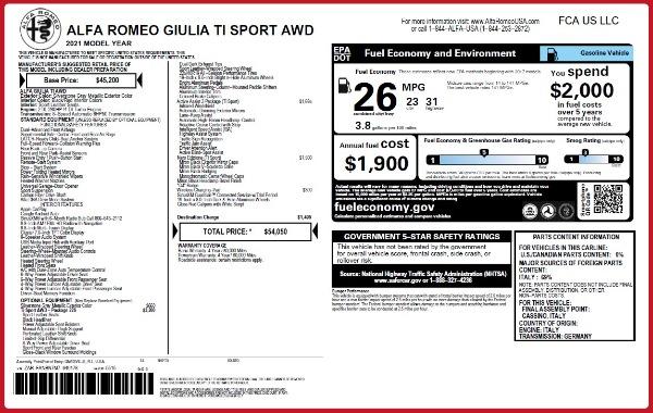 New 2021 Alfa Romeo Giulia Ti Sport Q4 for sale $54,050 at Bentley Greenwich in Greenwich CT 06830 2