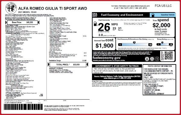 New 2021 Alfa Romeo Giulia Ti Sport Q4 for sale $53,050 at Bentley Greenwich in Greenwich CT 06830 22