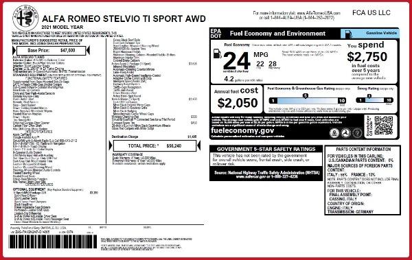 New 2021 Alfa Romeo Stelvio Ti Sport Q4 for sale $56,240 at Bentley Greenwich in Greenwich CT 06830 2