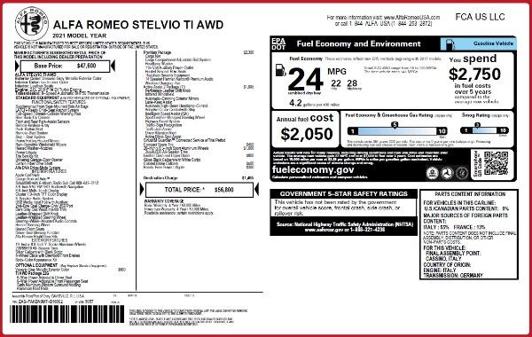 New 2021 Alfa Romeo Stelvio Ti Q4 for sale $56,800 at Bentley Greenwich in Greenwich CT 06830 2