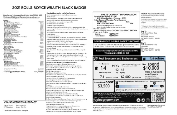 New 2021 Rolls-Royce Wraith Black Badge for sale Call for price at Bentley Greenwich in Greenwich CT 06830 9