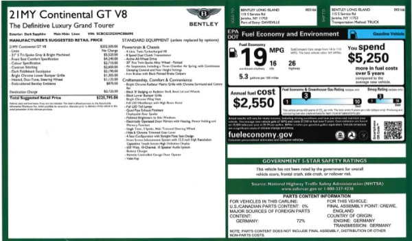 Used 2021 Bentley Continental GT V8 for sale Sold at Bentley Greenwich in Greenwich CT 06830 27