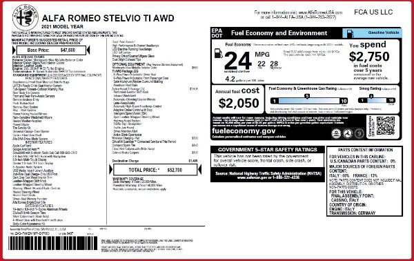 New 2021 Alfa Romeo Stelvio Ti Q4 for sale $52,700 at Bentley Greenwich in Greenwich CT 06830 2