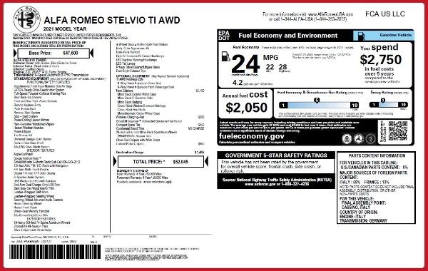 New 2021 Alfa Romeo Stelvio Ti Q4 for sale $52,045 at Bentley Greenwich in Greenwich CT 06830 2