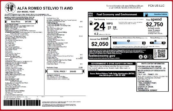 New 2021 Alfa Romeo Stelvio Ti Q4 for sale $54,400 at Bentley Greenwich in Greenwich CT 06830 26