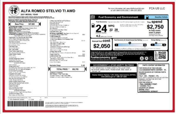 New 2021 Alfa Romeo Stelvio Ti for sale $52,705 at Bentley Greenwich in Greenwich CT 06830 2