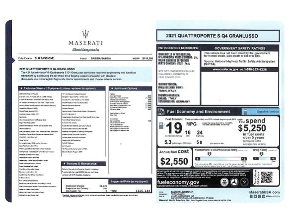 New 2021 Maserati Quattroporte S Q4 GranLusso for sale $126,149 at Bentley Greenwich in Greenwich CT 06830 24