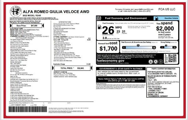 New 2022 Alfa Romeo Giulia Veloce for sale $52,845 at Bentley Greenwich in Greenwich CT 06830 24