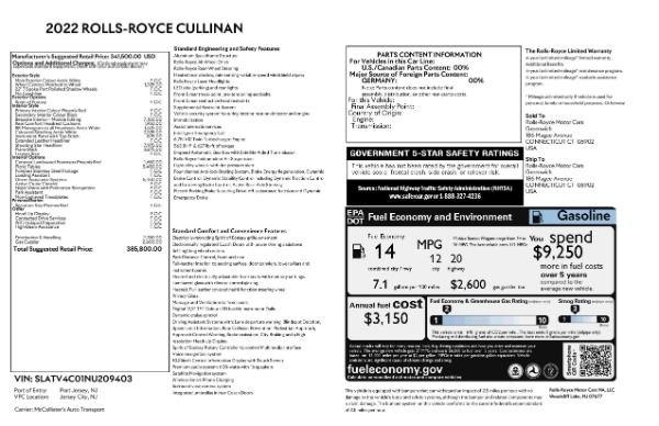 New 2022 Rolls-Royce Cullinan for sale Call for price at Bentley Greenwich in Greenwich CT 06830 9