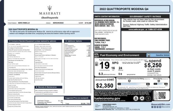 New 2022 Maserati Quattroporte Modena Q4 for sale $128,775 at Bentley Greenwich in Greenwich CT 06830 23