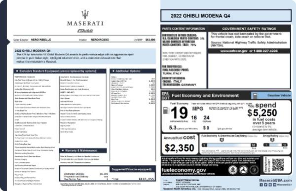 New 2022 Maserati Ghibli Modena Q4 for sale $103,855 at Bentley Greenwich in Greenwich CT 06830 19