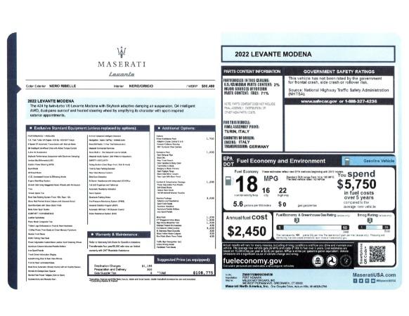 New 2022 Maserati Levante Modena for sale $108,775 at Bentley Greenwich in Greenwich CT 06830 24