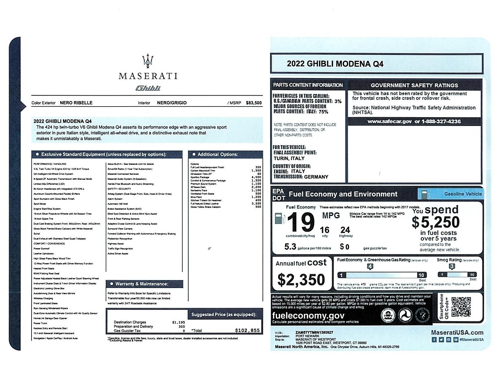 New 2022 Maserati Ghibli Modena Q4 for sale $102,855 at Bentley Greenwich in Greenwich CT 06830 1