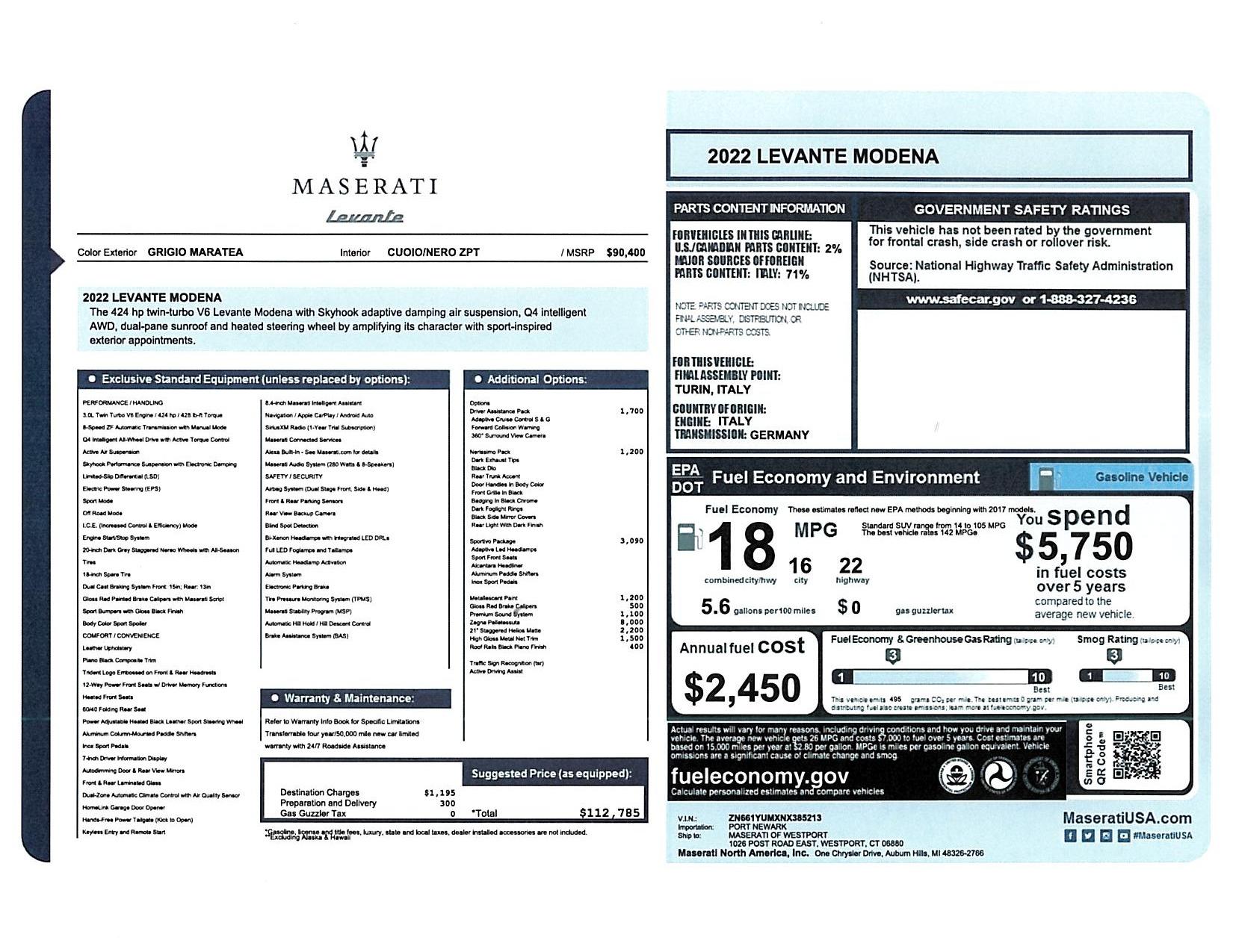 New 2022 Maserati Levante Modena for sale $112,785 at Bentley Greenwich in Greenwich CT 06830 1